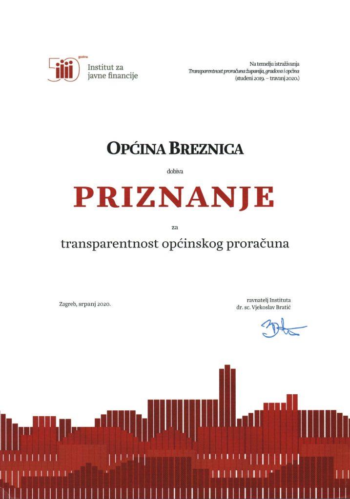 Priznanje za trasparentnost proračuna 2020.